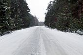 Snow Icy Road. Snow road in the middle of snow forest. Dangerous road poster
