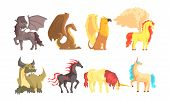 Fantastic Mythological Creatures And Beasts Vector Set poster