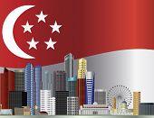 Singapore City Skyline And Flag Illustration