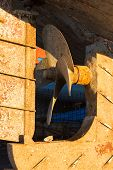 Detail Of A Propeller Of An Old Fishing Boat, Enligted By A Morning Sunligt. Port Of Essaouira, Moro poster