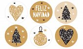 Feliz Navidad - Merry Christmas.spanish Christmas Vector Stickers With Gold And Black Floral Bauble, poster