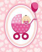 Newborn Baby, Girl, Postcard, Asia, Pink Hearts, Vector. A Little Girl In A Pink Stroller. A Pink Ba poster