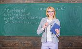 Teacher Woman Explain Near Chalkboard. What Make Great Teacher. School Teacher Explain Things Well A poster