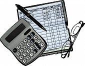 Checkbook, Calculator and Glasses Illustration