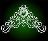 Wedding Feminine Diadem With Green Stone