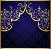 Decorative Background Frame With Gold(en) Peacock