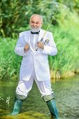 Working Everywhere. Fishermen In Formal Suit. Successful Catch. Business Success. Mature Man Fishing poster