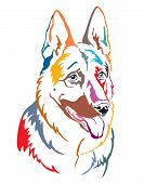 Colorful Decorative Contour Outline Portrait Of Dog German Shepherd Looking In Profile, Vector Illus poster