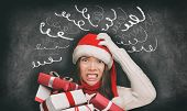Christmas stress winter holiday shopping gifts woman in santa hat stressed out funny drawings of hea poster