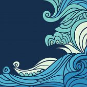 Water And Wave Border. Abstract Water Background With Hand-drawn Curls. Blue Tide Vector Background. poster