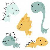 Dinosaur Baby Cute Print Set. Sweet Little Dino. Cool Illustration For Nursery, T-shirt, Kids Appare poster