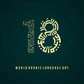 World Arabic Language Day On 18 December With Text Type Kufi That Forms 8 Which Means World Arabic L poster