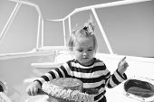 Collecting Memories. Entertainment Jobs. Baby Boy Enjoy Vacation Sea Cruise Ship. Child Sailor. Boy  poster
