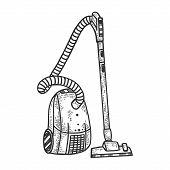 Home Vacuum Cleaner Sketch Engraving Vector Illustration. T-shirt Apparel Print Design. Scratch Boar poster