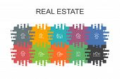 Real Estate Cartoon Template With Flat Elements. Contains Such Icons As Property, Realtor, Location, poster