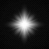 Light Effect Of Lens Flares. White Glowing Lights Starburst Effects With Sparkles On A Transparent B poster