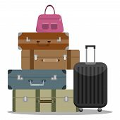 A Set Of Tourist Suitcases. Different Options For Tourist Suitcases. A Large Set Of Tourist Suitcase poster
