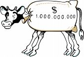 picture of cash cow  - Abstract cash cow made of money on white background - JPG