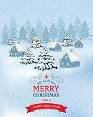 Christmas Village. Background With Snowflakes. Merry Christmas Background With Branches Of Tree And  poster