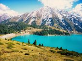 Spectacular Scenic Big Almaty Lake In Thetien Shan Mountains In Almaty, Kazakhstan, Central Asia Dur poster