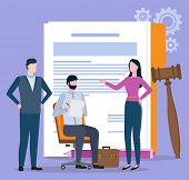 Man And Woman Character Discussing, Documents And Gavel. Portrait View Of People Resolving Legal Pro poster