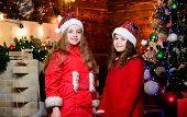Little Girl Sisters In Red Hats. We Are Family. Elf Children. Xmas Tree Decoration. Santa Claus Litt poster