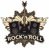 Vector Music Banner With Lettering Rock And Roll, Electric Guitar, Speakers, White Wings And Fire. C poster