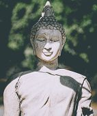 Statue Of Buddha Standing In Meditation.close Up Hand Of Statue Buddha.buddhism Concept .peacefulnes poster