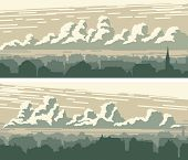 Set Of Horizontal Banners Of Old Historic Downtown And Sky With Clouds. poster