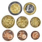 A set of well worn Euro coins