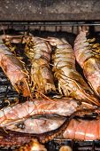Shrimbs And Seafood On Barbecue