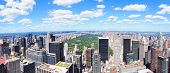 New York City Manhattan midtown aerial panorama view with skyscrapers and central park in the day.