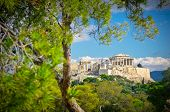 foto of ancient civilization  - Beautiful view of ancient Acropolis Athens Greece - JPG