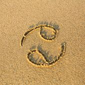 Zodiac sign Cancer, drawn on the facture beach sand. (zodiac signs series)