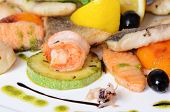 Allsorts from fish and seafood. A restaurant dish
