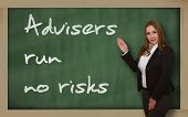 Teacher Showing Advisers Run No Risks On Blackboard