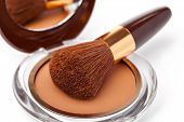 stock photo of face-powder  - Makeup Powder and Brush on a white background - JPG