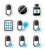 Pills, medication  vector icons set
