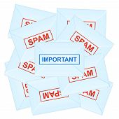 Important Message Among Spam Letters. Vector Illustration