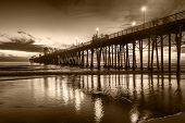 Oceanside Pier at sunset - Oceanside is 40 miles North of San Diego, California. Image in sepia tone