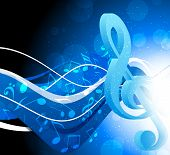 image of g clef  - Bright blue background with g - JPG