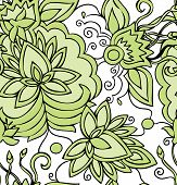 Seamless Abstract Hand-drawn Green Pattern With Flowers.