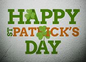 Bold st patricks day message with shamrocks on vignette wall style background