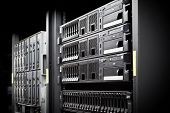 stock photo of cluster  - Network servers hdd in a data center - JPG