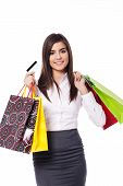 Businesswoman with shopping bag and credit card