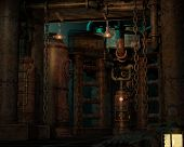 picture of scrap-iron  - an imaginary factory scene in retro style - JPG