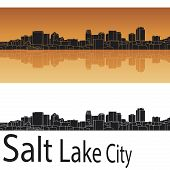 Salt Lake City Skyline In Orange Background
