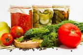 picture of pickled vegetables  - jars of pickled vegetables - JPG