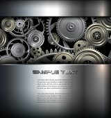 stock photo of robotics  - Technology background metallic gears and cogwheels - JPG