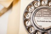 stock photo of bakelite  - Fifties antique British GPO 332L ivory color bakelite telephone  - JPG